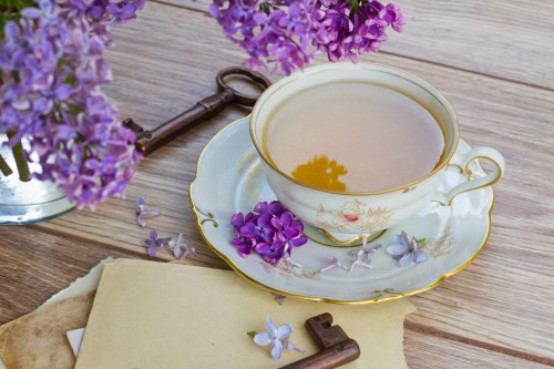 20081399 - summer cup of tea with lilac  and vintage photos