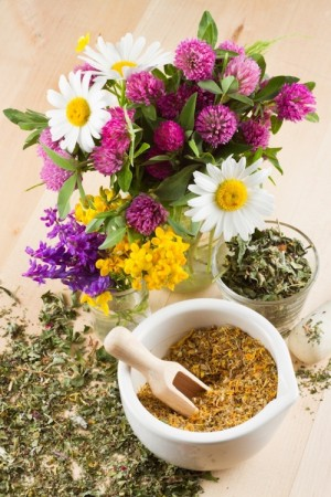 14118707 - mortar with healing herbs, bouquet of daisy and clovers on wooden board, herbal medicine